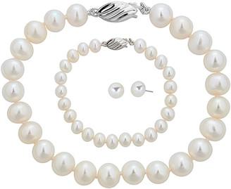 BELPEARL Silver 8-9Mm Freshwater Pearl Necklace, Earrings, & Bracelet Set