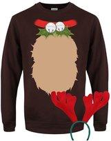 Grindstore Men's Reindeer with Antlers - Christmas Costume Sweater