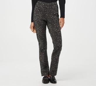 Denim & Co. Leopard Print Comfy Knit Denim Straight Leg Pants