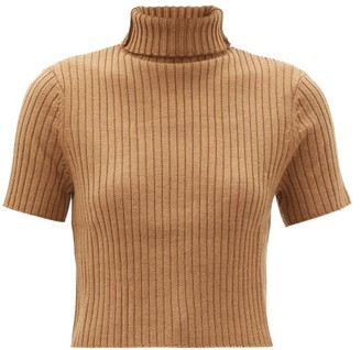 STAUD Lilou Cropped Ribbed Wool-blend Sweater - Camel