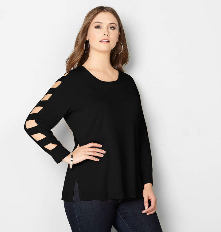 Cutout Sleeve Pullover