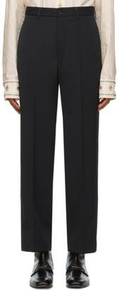 Gucci Black Wool Gabardine Logo Trousers