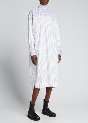 Ganni Striped Cotton High-Neck Dress