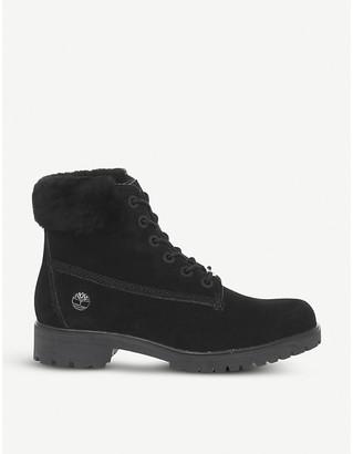 "Timberland Slim Premium 6"" faux fur-collar nubuck boots"