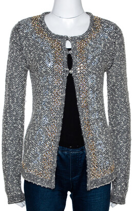 Chanel Monochrome Alpaca Wool Studded Boucle Cardigan M
