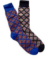 Jared Lang Geo Striped Crew Socks - Pack of 2