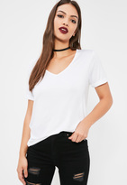 Missguided Boyfriend V Neck T Shirt White