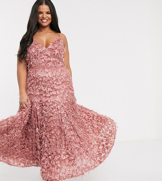 Forever U Curve midi dress with fringe 3D fabrication in dusty rose