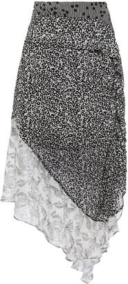 Hofmann Copenhagen Asymmetric Paneled Printed Georgette Midi Skirt