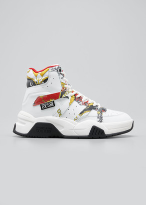 Versace Men's Logo Barocco Chunky High-Top Sneakers