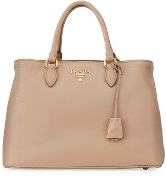 Prada Pebbled Leather Shoulder Tote Bag
