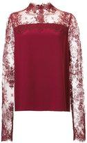Monique Lhuillier lace panel blouse