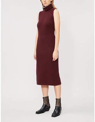 Loewe Faux-pearl-embellished sleeveless cashmere midi dress