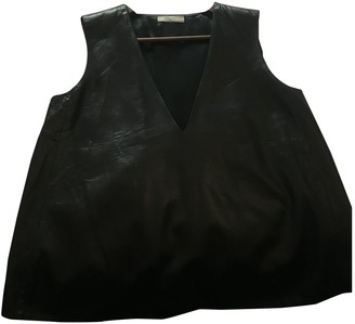 Bouchra Jarrar Black Leather Top for Women