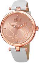 Burgi brgi Womens Diamond-Accent Etched Rose Dial Watch