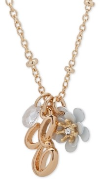 """lonna & lilly Gold-Tone Flower & Initial Pendant Necklace, 16"""" + 3"""" extender"""
