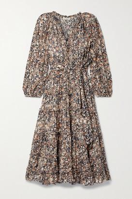 Ulla Johnson Anzu Tiered Printed Cotton-blend Voile Midi Dress - Brown