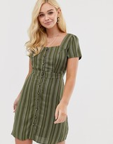Gilli button down tea dress with square neck in stripe