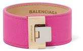Balenciaga Le Dix Textured-leather Gold-tone Bracelet - Pink