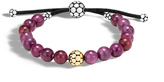 John Hardy Dot Bead Bracelet in Silver and 18K Gold with 8MM Gemstone
