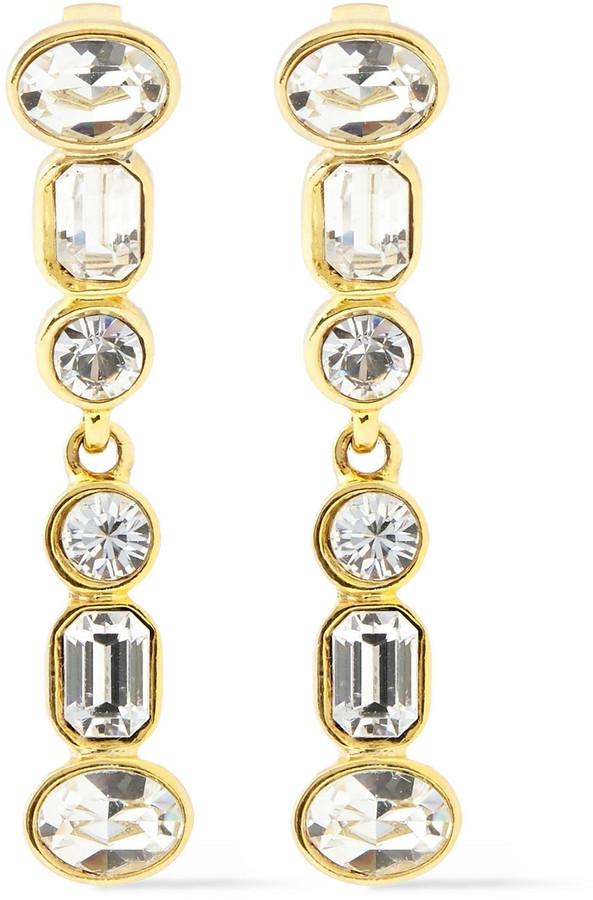 Kenneth Jay Lane 22-karat Gold-plated Crystal Clip Earrings
