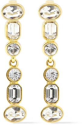 Kenneth Jay Lane 22-karat Gold-plated Crystal Clip Earrings