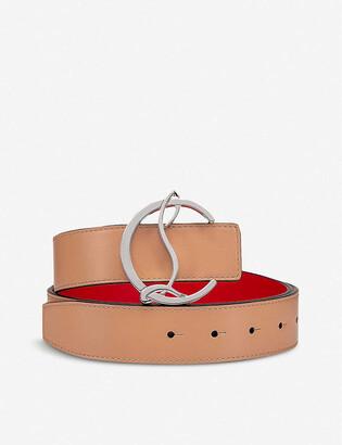 Christian Louboutin W cl logo belt 35 calf paris/metal nude/