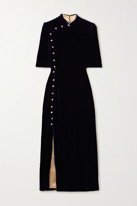 Saloni Taro Velvet Midi Dress - Navy