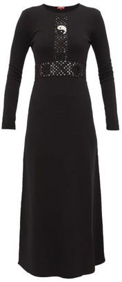 STAUD Crochet Knitted-jersey Maxi Dress - Womens - Black