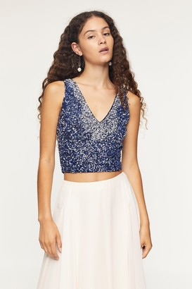 Lace & Beads Womens **Alexa Embellished Navy Top By Navy Blue