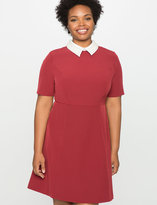 ELOQUII Plus Size Embellished Collar A-Line Dress