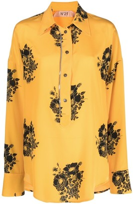 No.21 Floral-Print Long-Sleeve Shirt