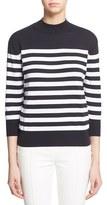Eleventy Stripe Cotton Three Quarter Sleeve Turtleneck