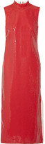 Loewe Two-tone Sequined Gauze And Linen Midi Dress - Red