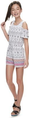 Mudd Girls 6-20 & Plus Size Crochet Cold-Shoulder Romper
