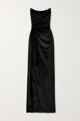 Marchesa Strapless Velvet Gown