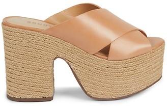 Schutz Lora Leather Espadrille Platform Sandals