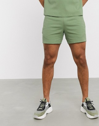 ASOS DESIGN co-ord slim shorter shorts in green seersucker