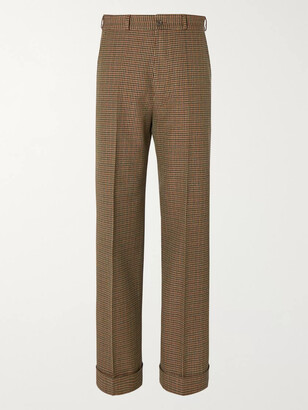 Gucci Wide-Leg Micro-Checked Wool Trousers