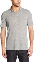 John Varvatos Men's Johnny Collar Knit Shirt, Grey Heather