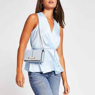 River Island Light blue sleeveless wrap top