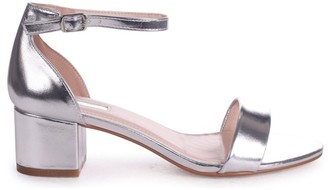 Barely There Linzi HOLLIE - Silver Metallic Block Heeled Sandal With Closed Back