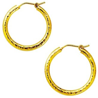 Elizabeth Locke 19K Yellow Gold Giant Hammered Hoop Earrings