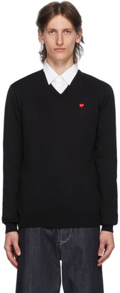 Comme des Garcons Black and Red Heart Patch V-Neck Sweater