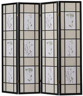 """World Menagerie Pothier 70"""" x 68"""" Gia 4 Panel Room Divider with Chinese Flower Design"""