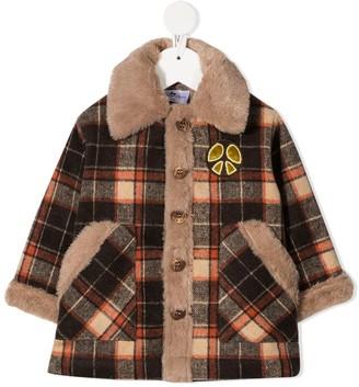 Raspberry Plum Imagine textured-trim check coat