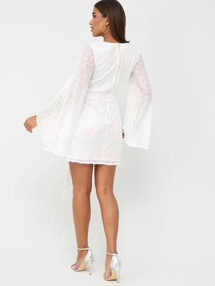 Very Holographic Tie Waist Sequin Dress - White