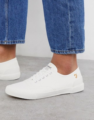 Farah lace up plimsoll trainers in white