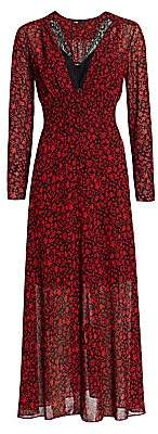 Maje Women's Ravila Lace Trim Floral Print Midi Dress