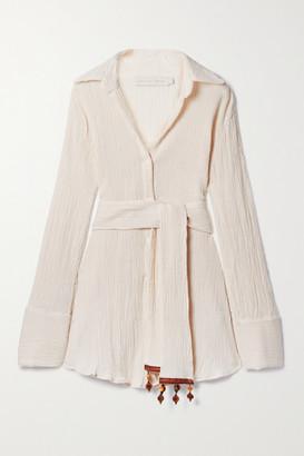 Savannah Morrow The Label Net Sustain Ocean Embellished Belted Crinkled Organic Cotton-gauze Shirt - Cream